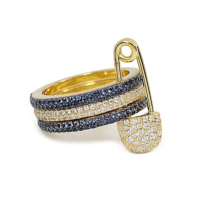 apm MONACO法國精品珠寶 深藍x金色三圓環別針造型鑲鋯戒指