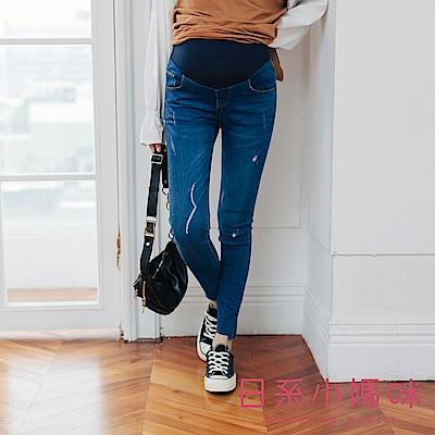日系小媽咪孕婦裝-孕婦褲 愛心銅釦褲管窄版牛仔褲 可調式瑜珈腰圍 S-XXL