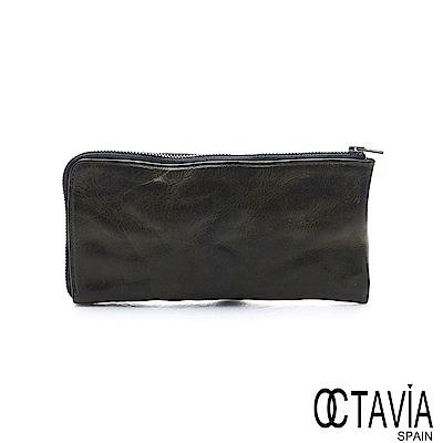 OCTAVIA 8 真皮 - 風化牛皮系列 追雲的風 L型拉鍊長夾 - 沼墨綠