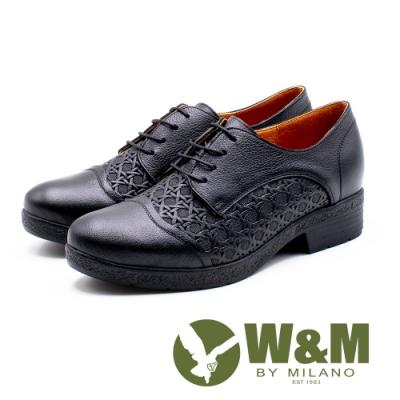 W&M 精緻編織紋 舒適厚底牛津鞋 女鞋 - 黑(另有咖啡、紅)