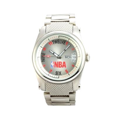 NBA 美國職籃 運動休閒日期顯示腕錶-銀/45mm