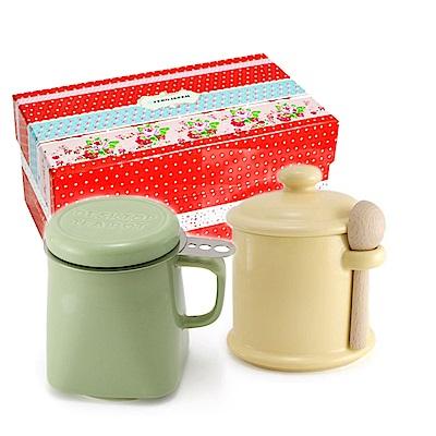 ZERO JAPAN 陶瓷儲物罐(香蕉黃) 泡茶馬克杯(大地綠)超值禮盒組