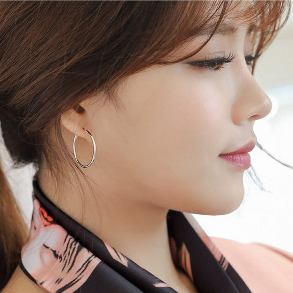 梨花HaNA 韓國925銀通體純銀光面圈圈耳環2.5CM