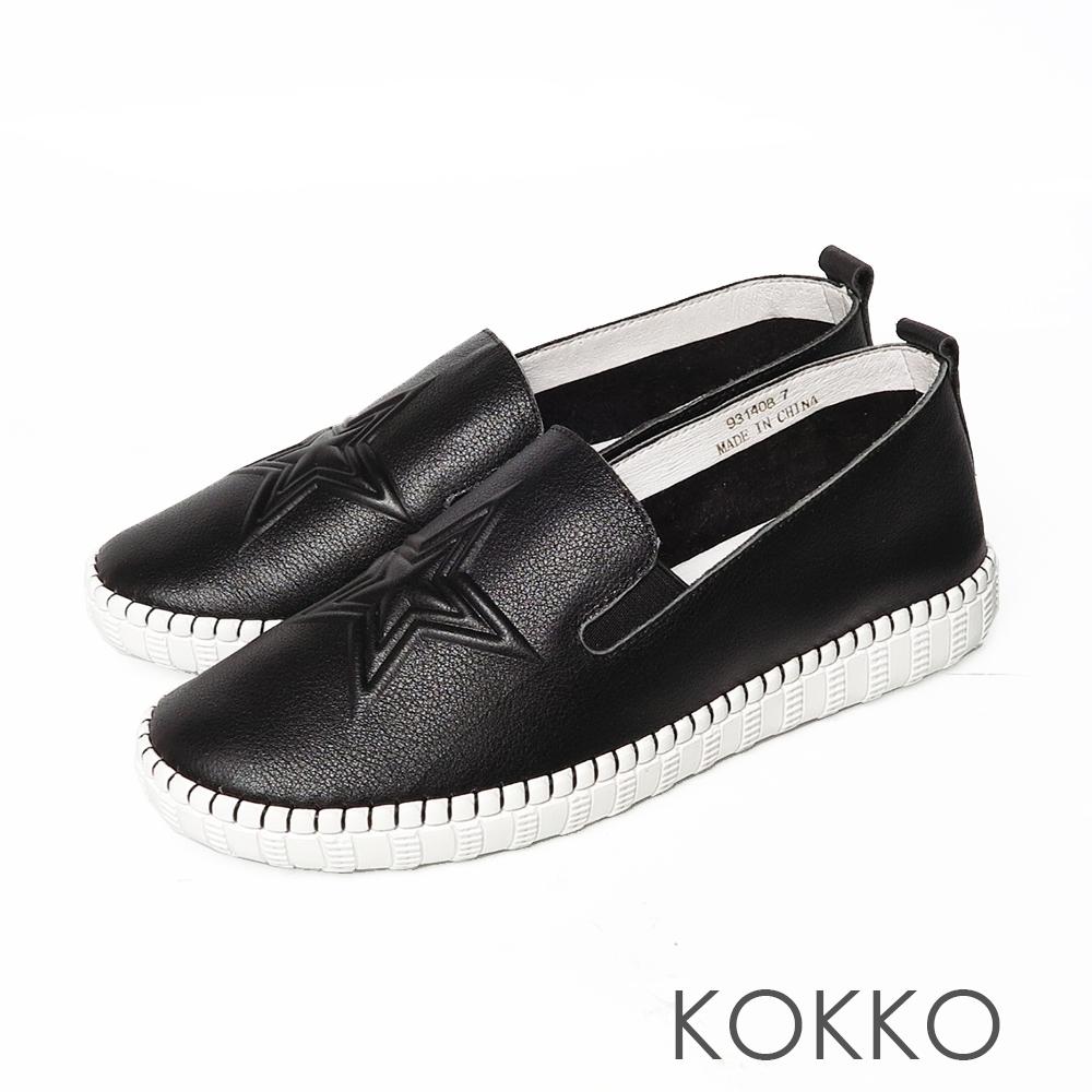 KOKKO牛皮雙層星星懶人休閒鞋經典黑