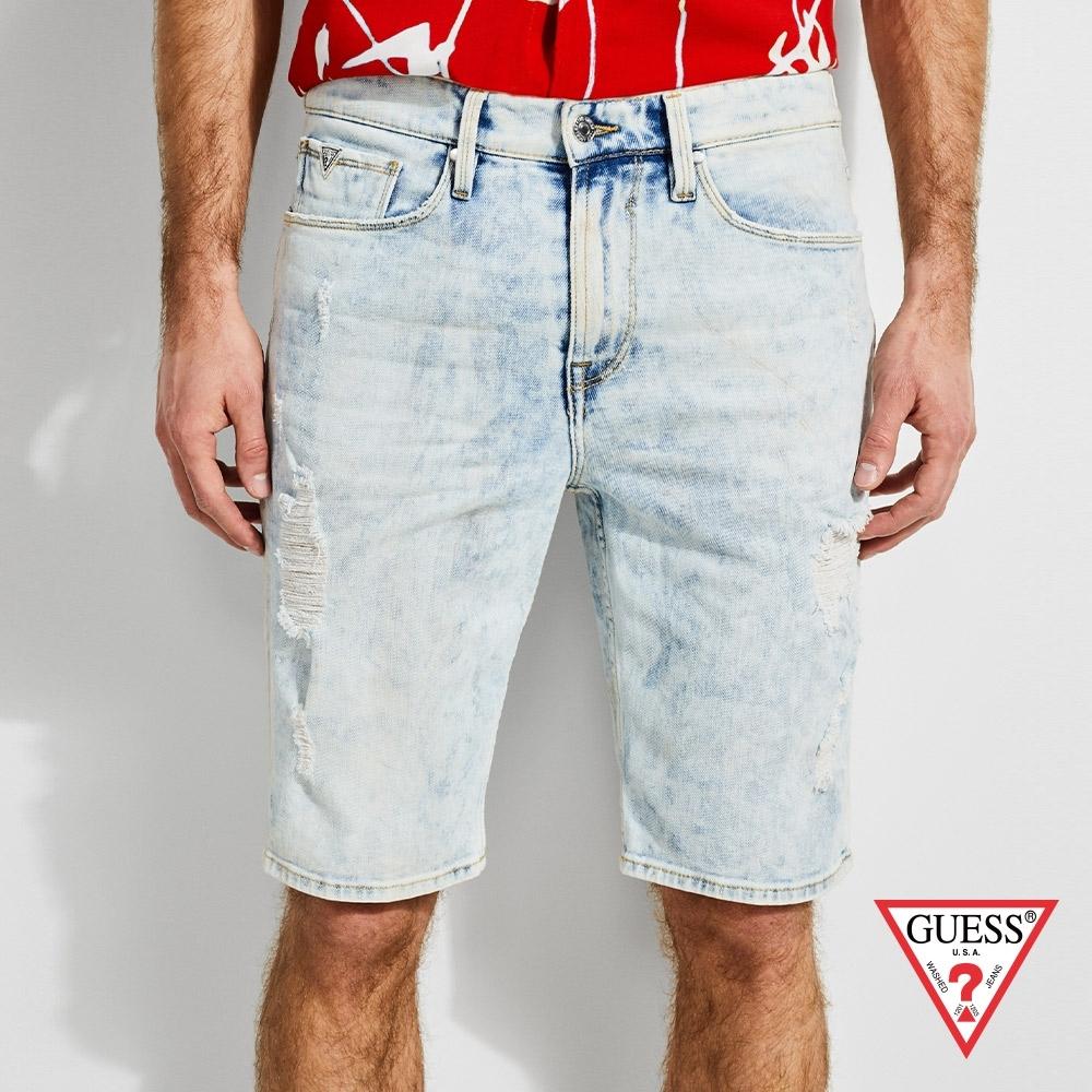 GUESS-男裝-刷破仿舊牛仔短褲-牛仔藍 原價1990