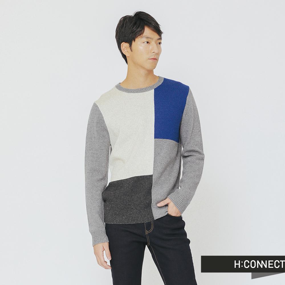 H:CONNECT 韓國品牌 男裝-拼接色塊圓領針織上衣-棕 @ Y!購物