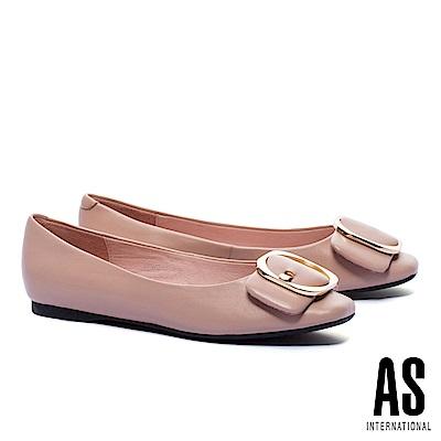 平底鞋 AS 金屬皮帶釦飾全真皮方頭平底鞋-粉