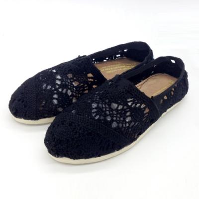 KEITH-WILL時尚鞋館 (現貨+預購) 花樣年華蕾絲鉤花鏤空懶人鞋-黑