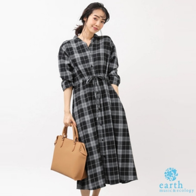 earth music 格紋/素面抽繩收腰設計連身洋裝