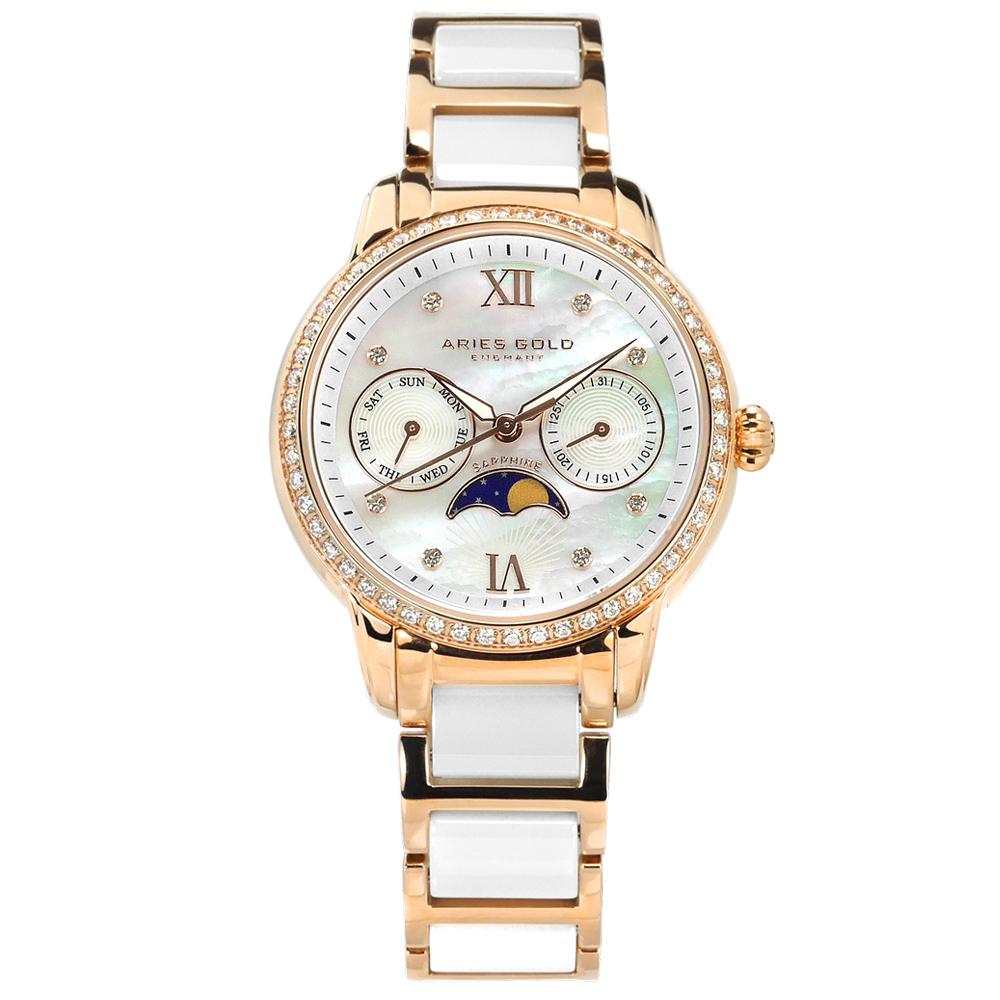 ARIES GOLD 月相錶 日期星期 陶瓷不鏽鋼手錶-銀白x鍍玫瑰金/34mm