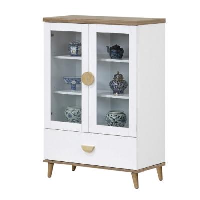 文創集 海尼斯 現代雙色2.7尺二門單抽收納櫃-80x40x121cm免組