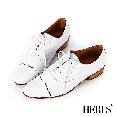 HERLS 女紳品味 全真皮斜線鏤空牛津鞋-白色