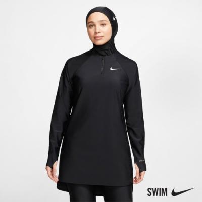 NIKE 成人 長版 連帽 長袖 罩衫 女款 VICTORY SWIM TUNIC 黑 NESSA440-001