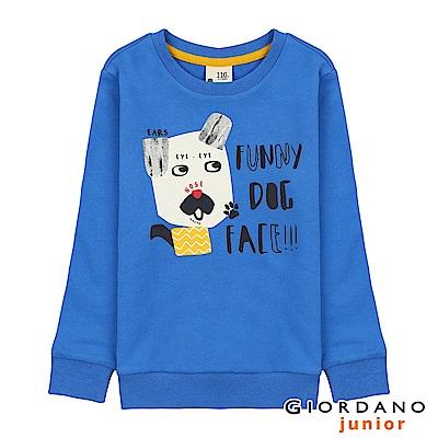 GIORDANO 童裝童趣印花長袖T恤-53 法國藍