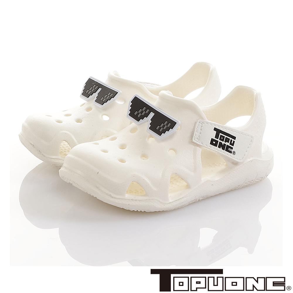 TOPUONE童鞋 馬賽克眼鏡極輕量Q彈洞洞涼鞋-白