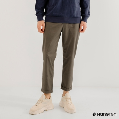 Hang Ten-男裝-TAPERED FIT錐形九分褲-軍綠色