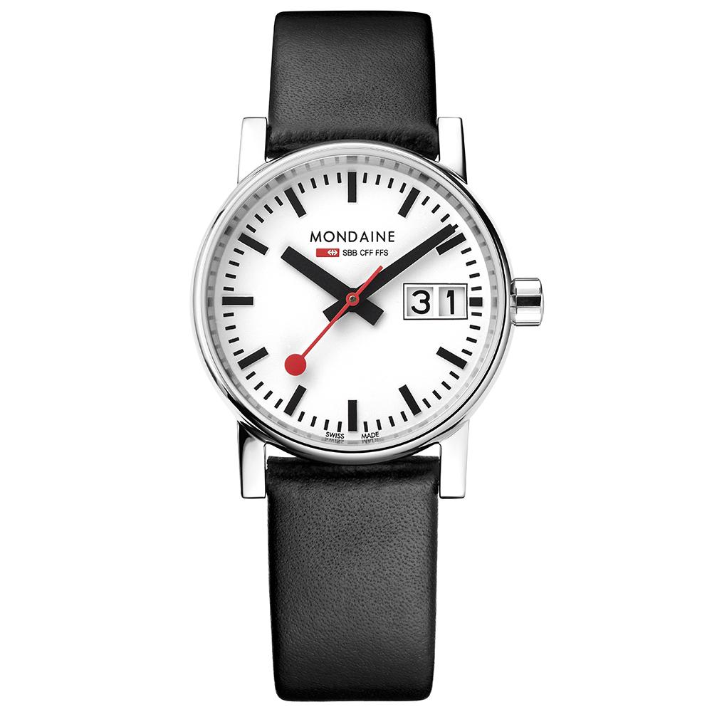 MONDAINE 瑞士國鐵evo2時光走廊腕錶-30mm/黑