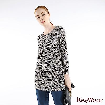 KeyWear奇威名品    波希米亞趣味幾何印花長袖上衣-綜合色