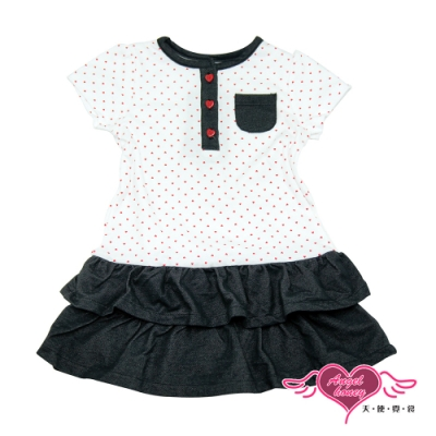 【天使霓裳-童裝】甜心朵朵 可愛點點短袖小洋裝(白)