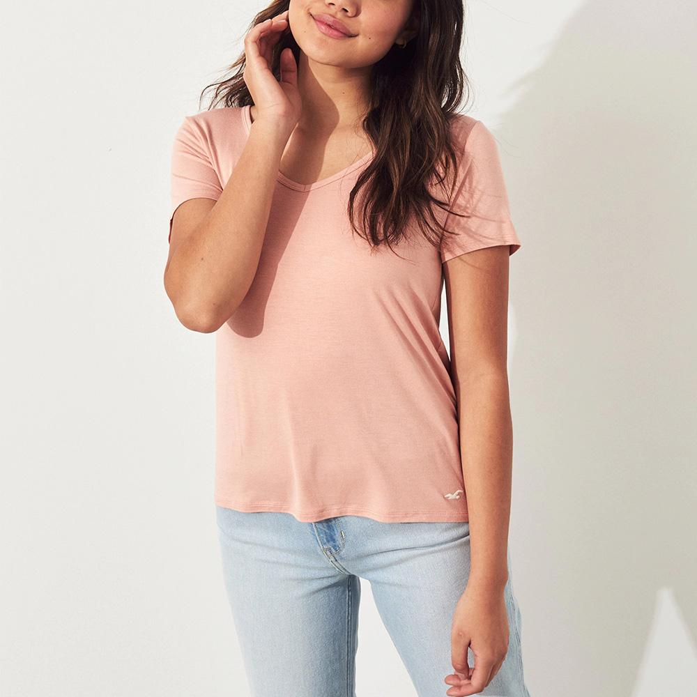 海鷗 Hollister HCO 經典刺繡海鷗V領素面短袖T恤(女)-粉色