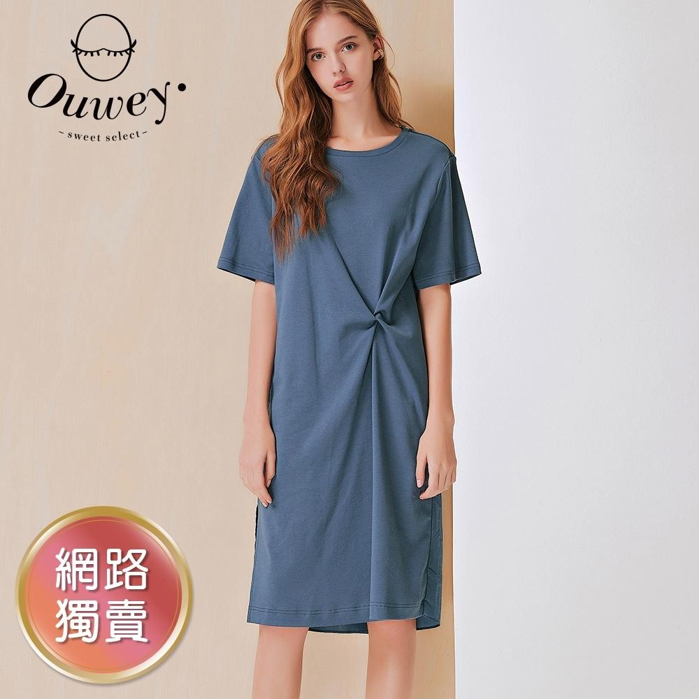 OUWEY歐薇 扭結設計造型拼接連身裙(黑/藍)3212177010