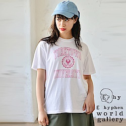 E hyphen 學院風字母打印短袖T恤
