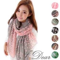 I.Dear-韓系時尚百搭圖樣巴黎紗雪紡絲巾(7色)