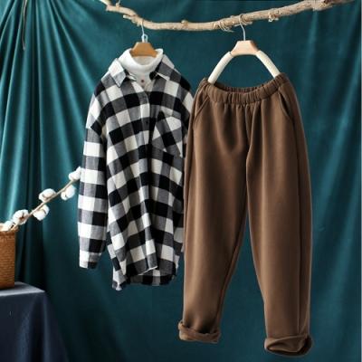 素色棉質加絨鬆緊腰寬鬆厚實哈倫長褲-設計所在