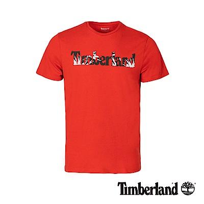 Timberland 男款極光紅品牌圖案修身短袖T恤|A1X1G