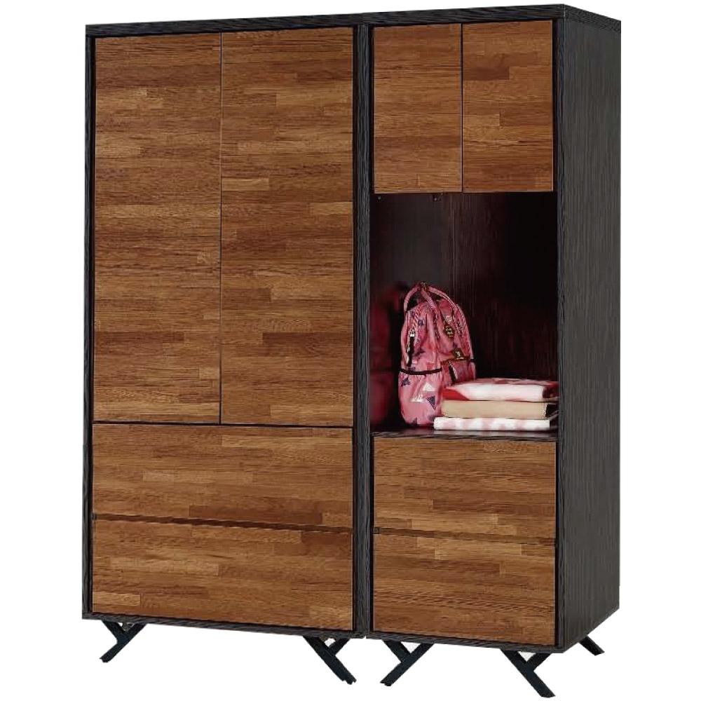 綠活居 凱斯雙色4.5尺四門四抽衣櫃/收納櫃組合-135x55x180cm免組
