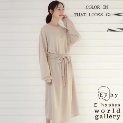 E hyphen 簡約素面綁帶蓬袖連身洋裝