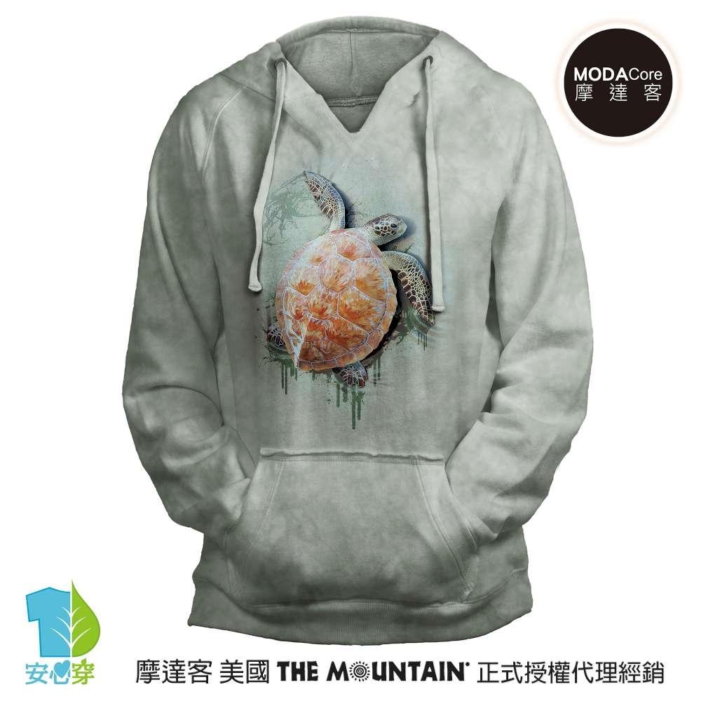 摩達客 預購 美國進口The Mountain 爬行海龜 女版V領長袖連帽T恤