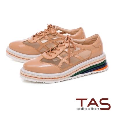 TAS 異材質拼接透膚網紗厚底休閒鞋-輕感膚