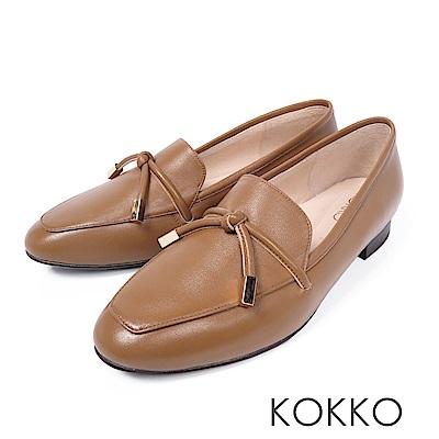 KOKKO - 倫敦旅人透氣真皮方頭鞋-大地棕