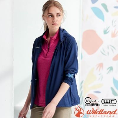 Wildland 荒野 0A81903-72深藍色 女彈性透氣輕薄外套 抗UV遮陽外套/透氣夾克/連帽防曬/登山運動