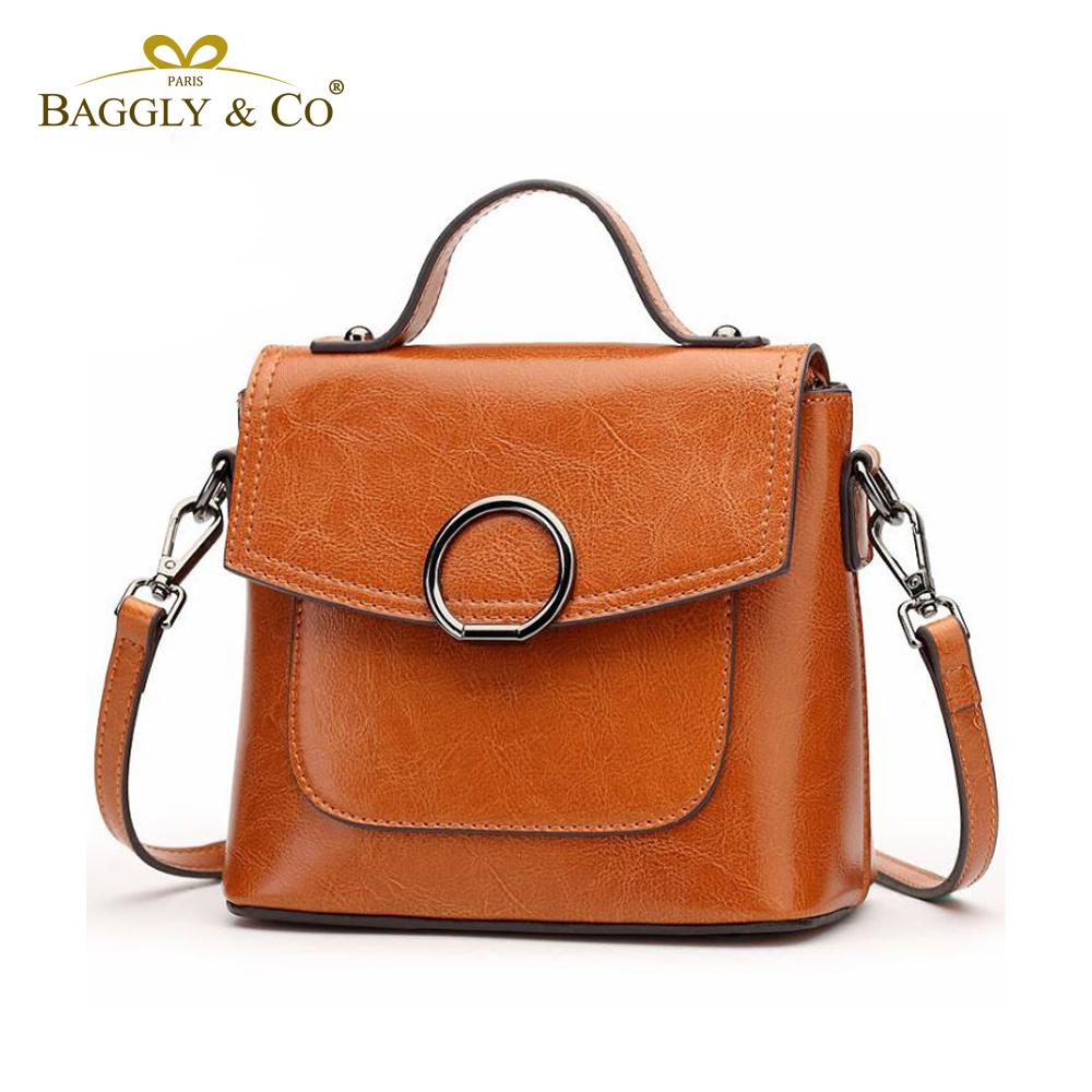 法國BAGGLY&CO德達斯復古圓環磁扣真皮手提側背包(二色)