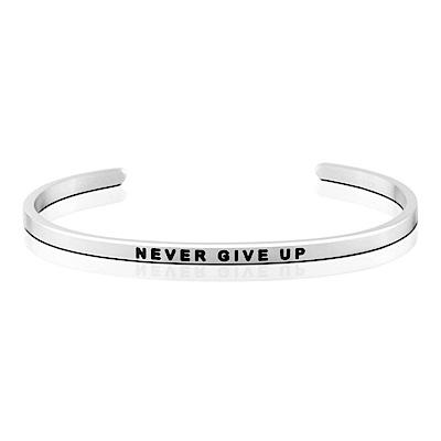 MANTRABAND 美國悄悄話手環 Never Give Up 永不放棄 銀色手環
