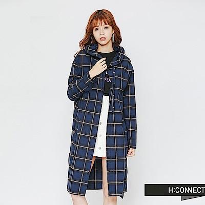 H:CONNECT 韓國品牌 女裝-格紋配色長版連帽襯衫-藍