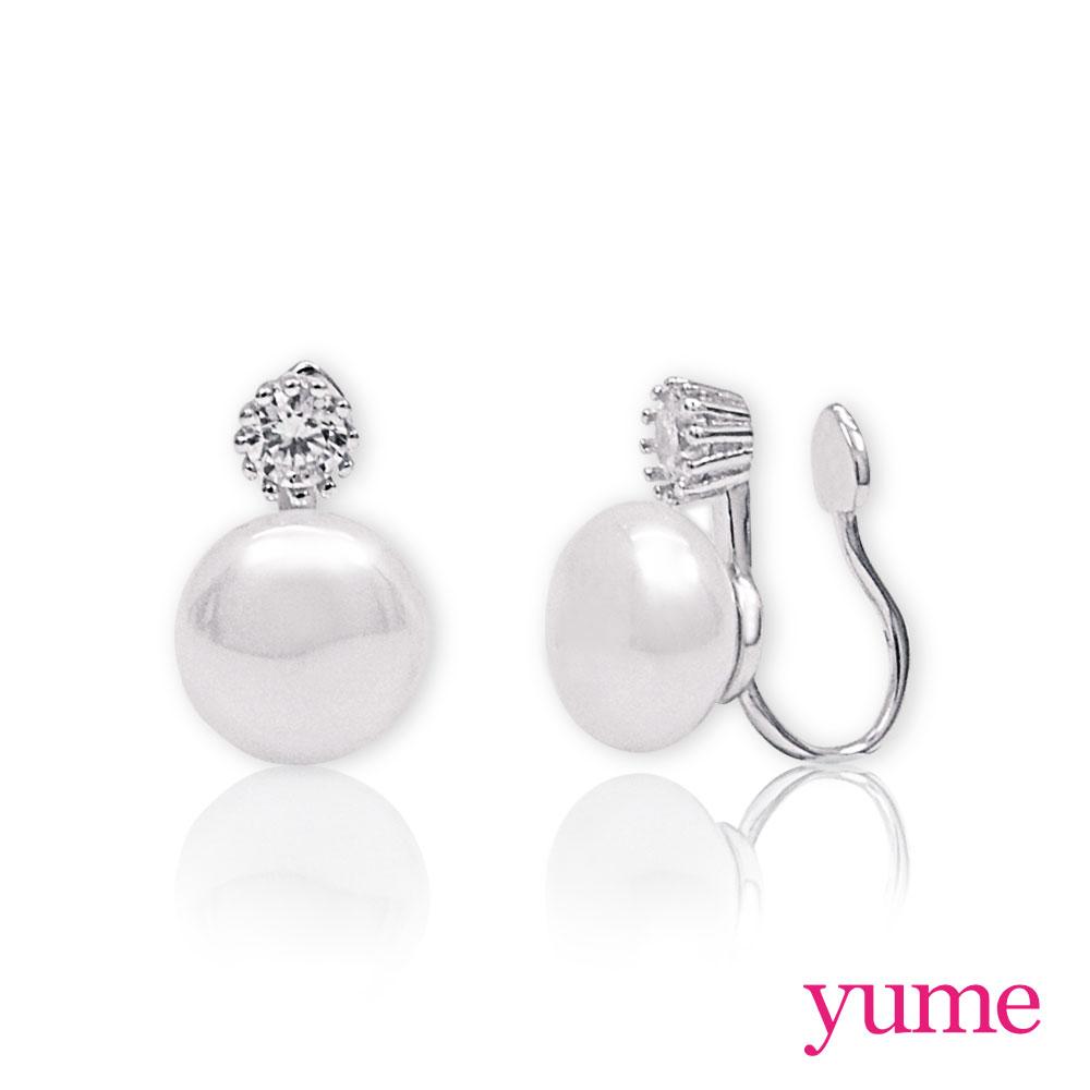 YUME - 純銀夾式-珍珠小鑽耳環