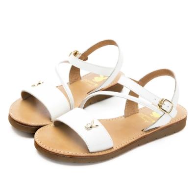 PLAYBOY悠閒假期斜帶真皮涼鞋-白-Y622211