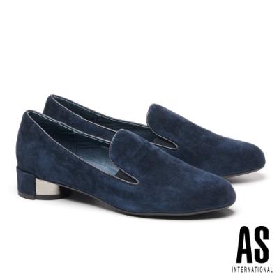 低跟鞋 AS 簡約輕奢質感羊麂皮粗低跟鞋-藍