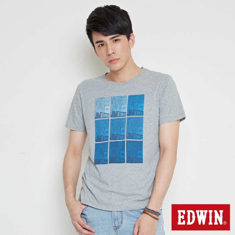 EDWIN 九宮格疊影印花短袖T恤-男-麻灰