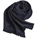EMPORIO ARMANI 義大利製字母大老鷹LOGO圖騰雙色配羊毛圍巾(深藍/黑灰)
