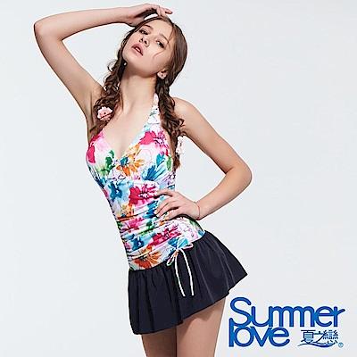 夏之戀SUMMERLOVE 花卉大女連身帶裙泳衣
