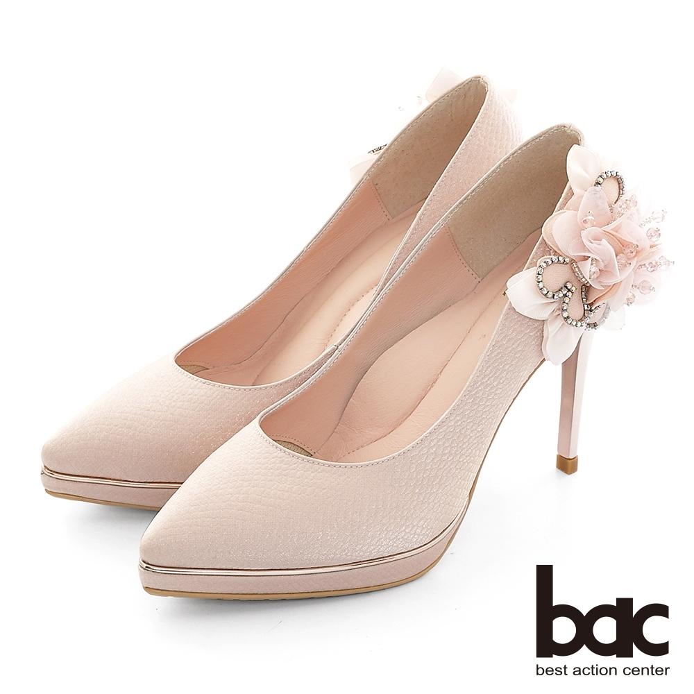 【bac】完美時刻尖頭側邊花朵裝飾防水台高跟鞋-珍珠粉紅