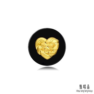 點睛品 吉祥系列 同心結 黑玉髓黃金耳環(單只)
