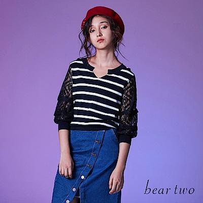 beartwo 七分蕾絲袖條紋針織上衣(二色)