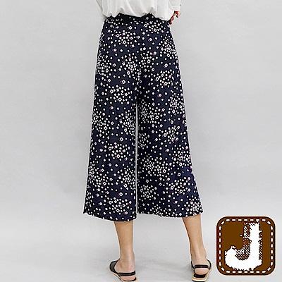 正韓 格紋點印花側岔涼寬褲-(藍色)100%Korea Jeans