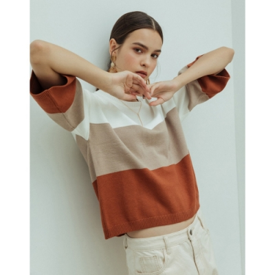 Shester55-三色七分袖針織衫(兩色)-女【VSH038】