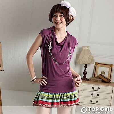 【TOP GIRL】時髦風尚薄羅馬領彈性長版TEE-性感紫